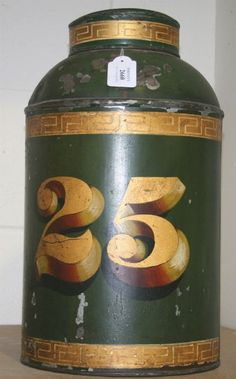 Tole tea canister lamp - repaint the one I have (not an original) in green with the number 05 for girls birth year?