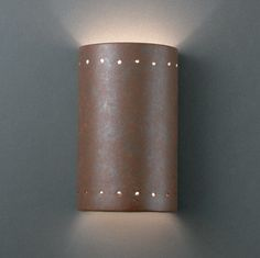 Justice Design Exclusive Lighting Store | Small Cylinder W/ Perfs Open Top and Bottom ADA Sconce