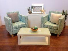 light bluewhite chair dollhouse furniture 16 scale 12 dolls vintage modern dollhouse furniture 1200 etsy