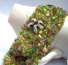 Tide pool OOAK Beaded Bracelet by pjlacasse on Etsy, $175.00