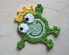 CROCHET PATTERN - Hoppy Frogs - a frog/frog prince/frog with crown applique pattern - Instant PDF Download. $3.99, via Etsy.