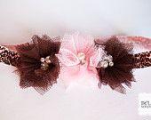 Beaded tulle flower toddler headband