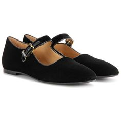 The Row Ava Velvet Mary Jane Ballerinas ($1,010) ❤ liked on Polyvore featuring shoes, flats, black, mary-jane shoes, black ballet flats, mary jane flats, ballet flats and black flats