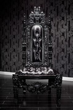 Black Lion Throne Chair - This incredible chair is intricately hand carved out the highest quality wood by expert craftsmen and features a tall tufted backrest and dazzling Swarovski crystals. It is then upholstered in a sumptuous black pony boy material and and completed with an extraordinary, shiny, black finish. The detail of this chair is absolutely exquisite. It features lions on the head rest, the back, below the seat and on the feet. This chair is a piece of art and a sure…