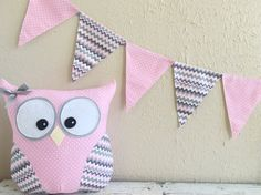 PENNANT BANNER in Pink and Gray by Loveoffamilyandhome on Etsy
