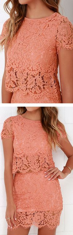 Turn Back Time Coral Lace Dress ❤︎