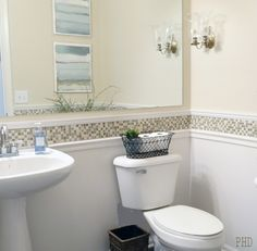 Bathroom- if we were to get rid of the bead board, I really like the tile around the chair rail. So clean looking.