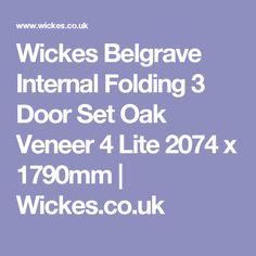 Wickes Belgrave Internal Folding 3 Door Set Oak Veneer 4 Lite 2074 x 1790mm | Wickes.co.uk