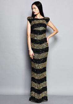 ABS ALLEN SCHWARTZ Allover Sequin Striped Gown