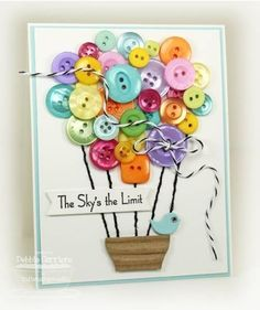 Scrapbook and Paper Craft Projects featuring Buttons Cute Cards, Diy Cards, Tarjetas Diy, Button Cards, Button Button, Creative Cards, Homemade Cards, Homemade Frames, Scrapbook Cards