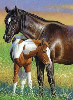 Momma & Colt Horses Jigsaw Puzzle