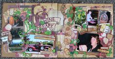 Montage, Layout, Scrapbooking, Double-page,  2 pages, Idées, Inspiration, Original, Ideas, Vin, Wine