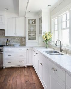 Liz Schupanitz Designs - cooking areas - Benjamin Moore - Simply White - wood floorings in cooking area, inset cooking area cupboards, white inset cupboards, brush ...