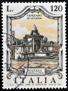 ITALY - CIRCA 1978: a stamp printed in Italy shows Cavallina Fountain, Genzano di Lucania, circa 1978