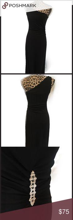 Elegant Long Black Evening gown Elegant long black evening gown, fully lined, silver and sparkle stones accent on left side Talbots Dresses One Shoulder