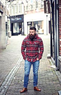 full dark thick beard and mustache undercut beards bearded man men mens' style lumberjack plaid flannel boots #beardsforever