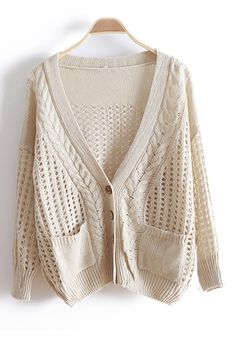 ++ Beige Hollow-out Bat Sleeve Knitted Cotton Cardigan