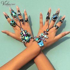 Vedawas Hot Ssle Good Quality Fashion Wedding Maxi Bracelet Sexy Statement Boho Female Crystal Bracelet Rings Jewelry Seys 1523