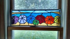 Rainbow of Beach Umbrellas Stained Glass - JoLow Original