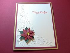 4 Poinsettia Handmade Christmas Cards Holly Swirl by zuCards