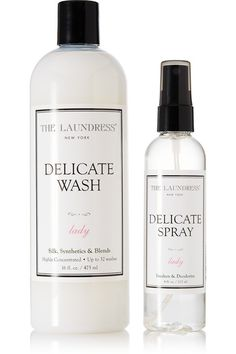475ml Delicate Wash, 125ml Delicate Spray Can be used for machine or hand washing NET-A-PORTER.COM are not responsible for any damage caused to garments as a result of using The Laundress products  Ingredients: Delicate Wash  Plant-derived anionic and nonionic surfactants, stain-fighting and cleaning enzymes (protease, amylase, lipase), mineral-derived cleaning enhancers (sodium gluconate and calcium chloride), essential oils, and fragrance Delicate Spray: Deionized water, alcohol, essential…