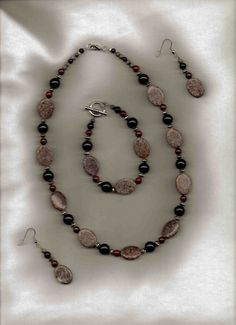 Pebbles  Grey Black and Maroon Stone by sunniescustomjewelry, $48.00