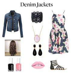 """""""Denim Jackets"""" by lovepeacelove-723 ❤ liked on Polyvore featuring LE3NO, Sans Souci, Bling Jewelry, Essie, denimjackets and WardrobeStaples"""