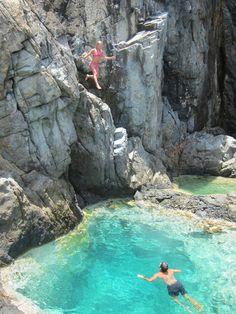 Natural Pool St-Barts Jump #cliffjumping #dive #travel http://www.wimco.com/villa-rentals/caribbean/st-barthelemy/
