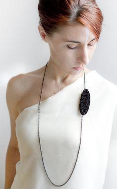 Francesca Mancini Rice Jewellery - Elusive in Black - Eco chic jewellery - ecofashion Contemporary Jewellery, Modern Jewelry, Jewelry Art, Beaded Jewelry, Jewelry Accessories, Jewelry Necklaces, Handmade Jewelry, Fashion Jewelry, Jewelry Design