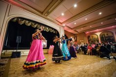 Sangeet   Indian Wedding   Coral, Pink   Dancing   Sangeet Performances   Lighting