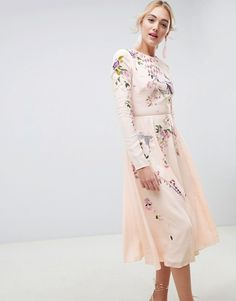 31e770ef27d4 ASOS Tall | ASOS DESIGN Tall midi dress with pretty floral and bird  embroidery Asos,