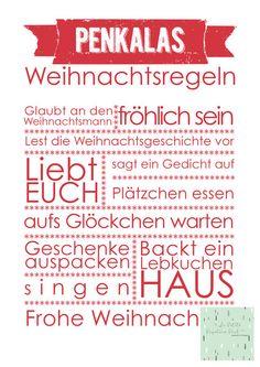 Familien+Weihnachtsregeln+A4+von+La+Petite+Papeterie+Paul+auf+DaWanda.com