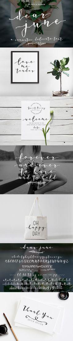 A Romantic font - Dear June by skyladesign on @creativemarket