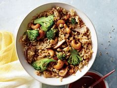 Nutty Fried Rice | Although vegetarian dishes are sometimes associated with complicated ingredients and techniques, these simple recipes are here to show otherwise. Totally veggie-friendly, and flavor packed, these easy recipes will satisfy everyone in the family, whether vegetarian or not. If you're looking for an easy-pack lunch then look no further than Spinach, Hummus, and Bell Pepper Wraps or Greek Spaghetti Squash Toss. If you're looking for a dinner to please everyone at the table…