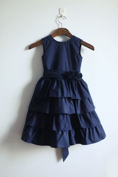 Navy Blue Cotton Flower Girl Dress Infant Toddler PAGEANT Bridal Party Dress Cupcake Tiered Dress  with Flower Sash