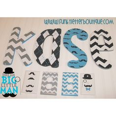 Hand painted mustache and chevron boys nursery letters at www.funkyletterboutique.com