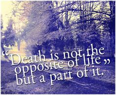 Death is not the opposite of life.