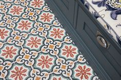 Inspired by Moorish architecture, Salisbury tiles bring a touch of the exotic to your home, and help reflect those glorious sun-soaked interiors all year round. Burnt orange and yellow colour palette with a touch of green, make these tiles a. Ceramic Floor Tiles, Bathroom Floor Tiles, Kitchen Tiles, Kitchen Flooring, Tile Floor, Floor Patterns, Tile Patterns, Patterned Wall Tiles, Tiles Uk
