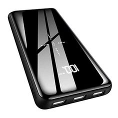 Portable Charger Power Bank 25000mAh High Capacity with Built in Cable External Battery Pack with LCD Digital Display//LED Lights,3 USB Output /& Dual Adapter Compatible Android Phone,Tablet and More