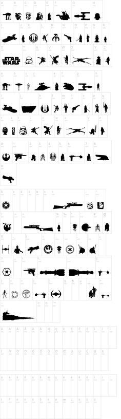Awesome dingbats font with Star Wars theme - perfect for Cameo. Font Galaxy Far Far Away