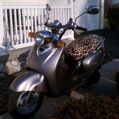 Yamaha Vino 125 Scooter Seat Cover.  Jane's Vino looks luxurious with this faux fur giraffe seat cover.  Ooh la la!  #CheekySeats