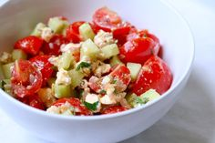 Delicious cherry tomato salad - perfect for summer - from Heidi. Clean Eating.