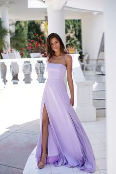High Slit A Line Prom Dress, Simple Lavender Prom Dresses, Long Evening Dress Lavender Prom Dresses, Pretty Prom Dresses, A Line Prom Dresses, Ball Dresses, Homecoming Dresses, Evening Dresses, Lilac Dress Long, Graduation Dresses, Cute Formal Dresses