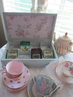 Tea Box  Jewelry Box  Hand Painted  Tea Party by myplace4tea, $45.00