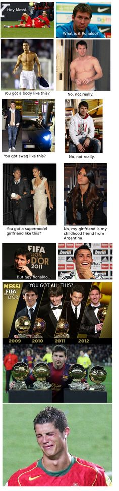 the endless debate between Messi and Ronaldo Messi Neymar Suarez, Messi Vs Ronaldo, Messi Messi, Lionel Messi, Funny Soccer Memes, Football Memes, Messi Funny, Soccer Humor, Soccer Stuff