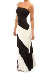 Stylish Strapless Sleeveless Striped  Slimming Women's Dress