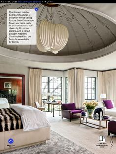 Bedroom with purple christian liagre chair and accents stephen white  ceiling fixture curtains by nobilis fabric
