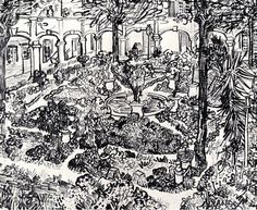 The Courtyard of the Hospital at Arles - Vincent van Gogh - Completion Date: 1889
