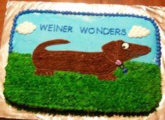 Conner bday cake weiner dog cake By gidget on CakeCentral.com
