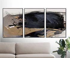 Set of 3 Prints Abstract Art Print Set 3 Abstract Prints Art Mural Vert, Grand Art Mural, Modern Wall Art, Large Wall Art, Abstract Wall Art, Abstract Landscape, West Elm, Gold Wall Art, Abstract Pictures